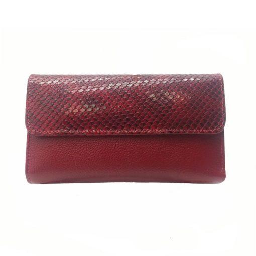 Billetera roja fabricada en cuero original