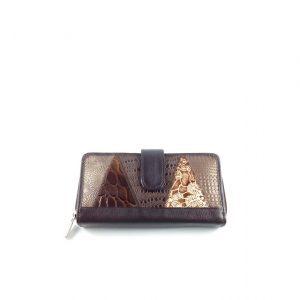 Billetera para dama en colores tierra fabricada en cuero