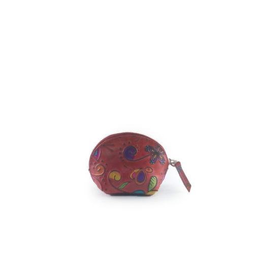 monedero de cuero tala rojo, estilo media luna