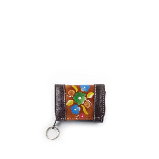 monedero billetera de colores negro y café hecho en cuero