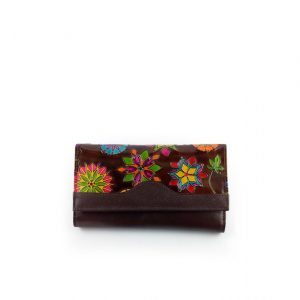 Billetera de color café artesanal para dama juvenil- cuero de res