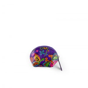 Monedero artesanal de cuero de color violeta