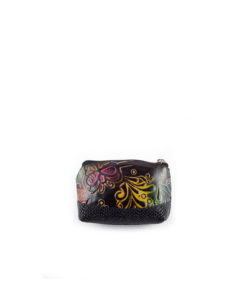 Monedero de cuero artesanal combinado con cuero de confección