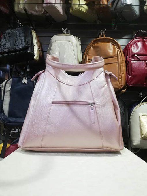 Bolso Cuero Ref 681 PQ Color Palo De Rosa Folias Parte Trasera