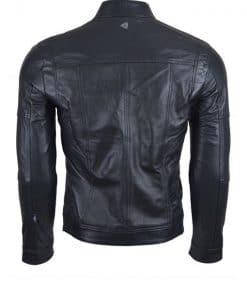 Chaqueta de cuero para hombre color negra con cremallera pecho espaldas