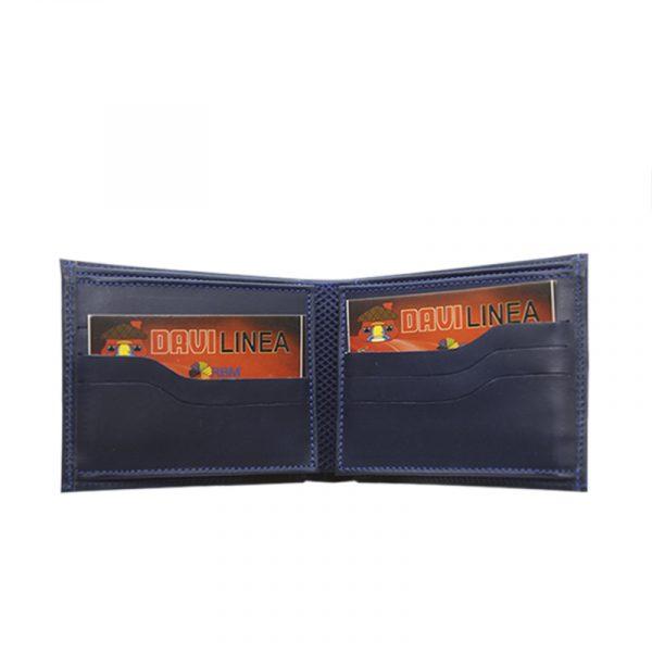 Billetera de cuero color azul - Cueros Hazard