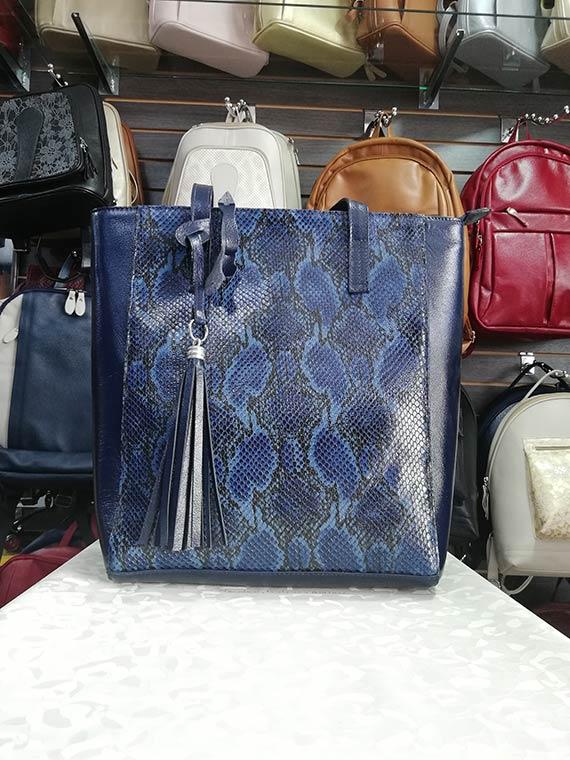 Bolso Cuero Ref 703 azul Folias