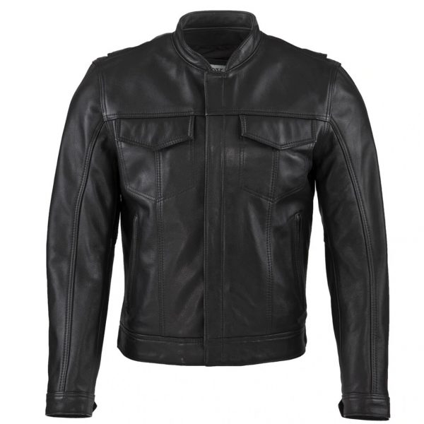 Chaqueta Cuero Negro con bolsillos