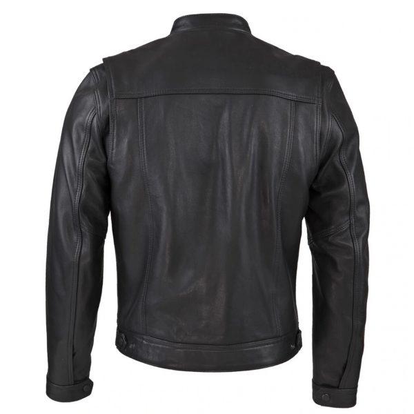 Chaqueta Cuero Negro con bolsillos de espaldas