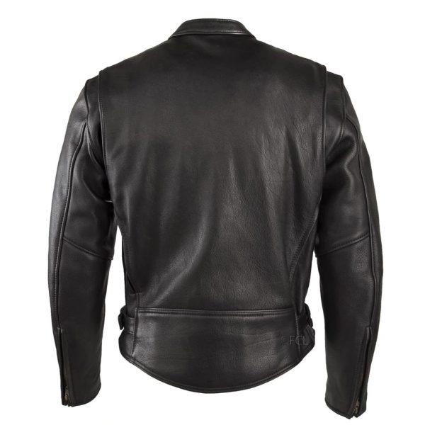 Chaqueta Sencilla Cuero Negro de espaldas