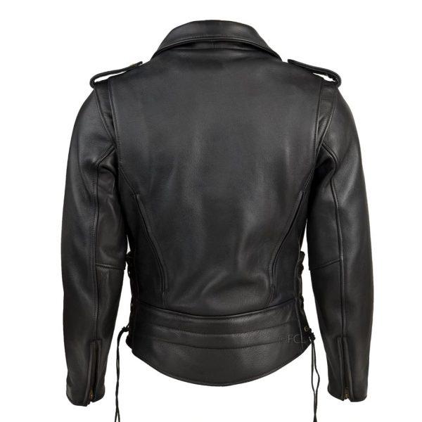 Chaqueta clasica cuero negra de espaldas