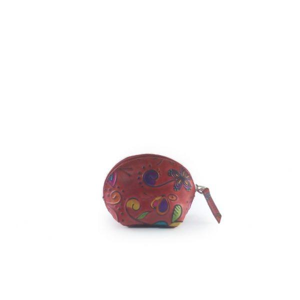 monedero de cuero tala rojo, estilo media luna - Cueros Hazard