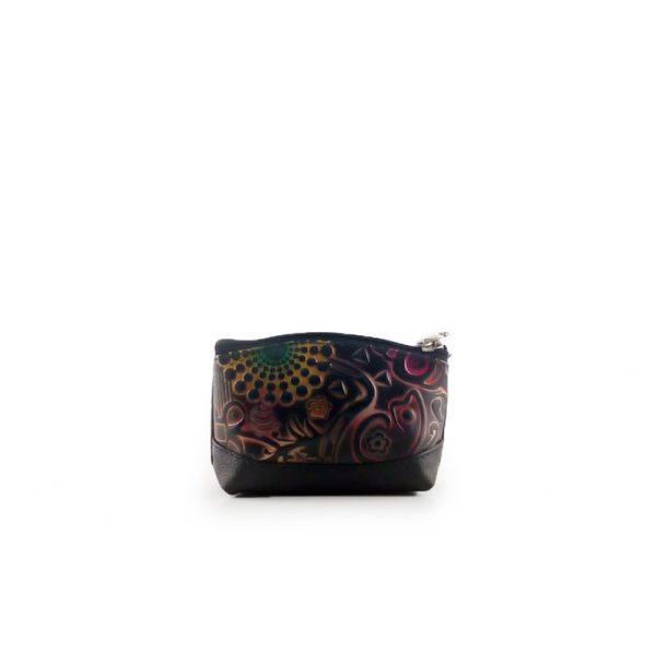 monedero de cuero tala repujado de diferentes motivos y con diferentes colores