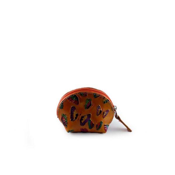 Monedero media luna de cuero color naranja - Cueros Hazard