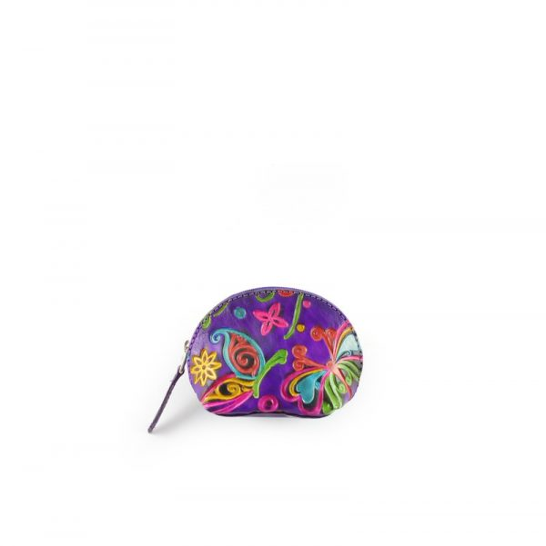 Monedero de cuero tipo media luna pintado a mano color violeta - Cueros Hazard